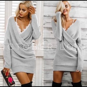 COMING- Grey Knit Dress